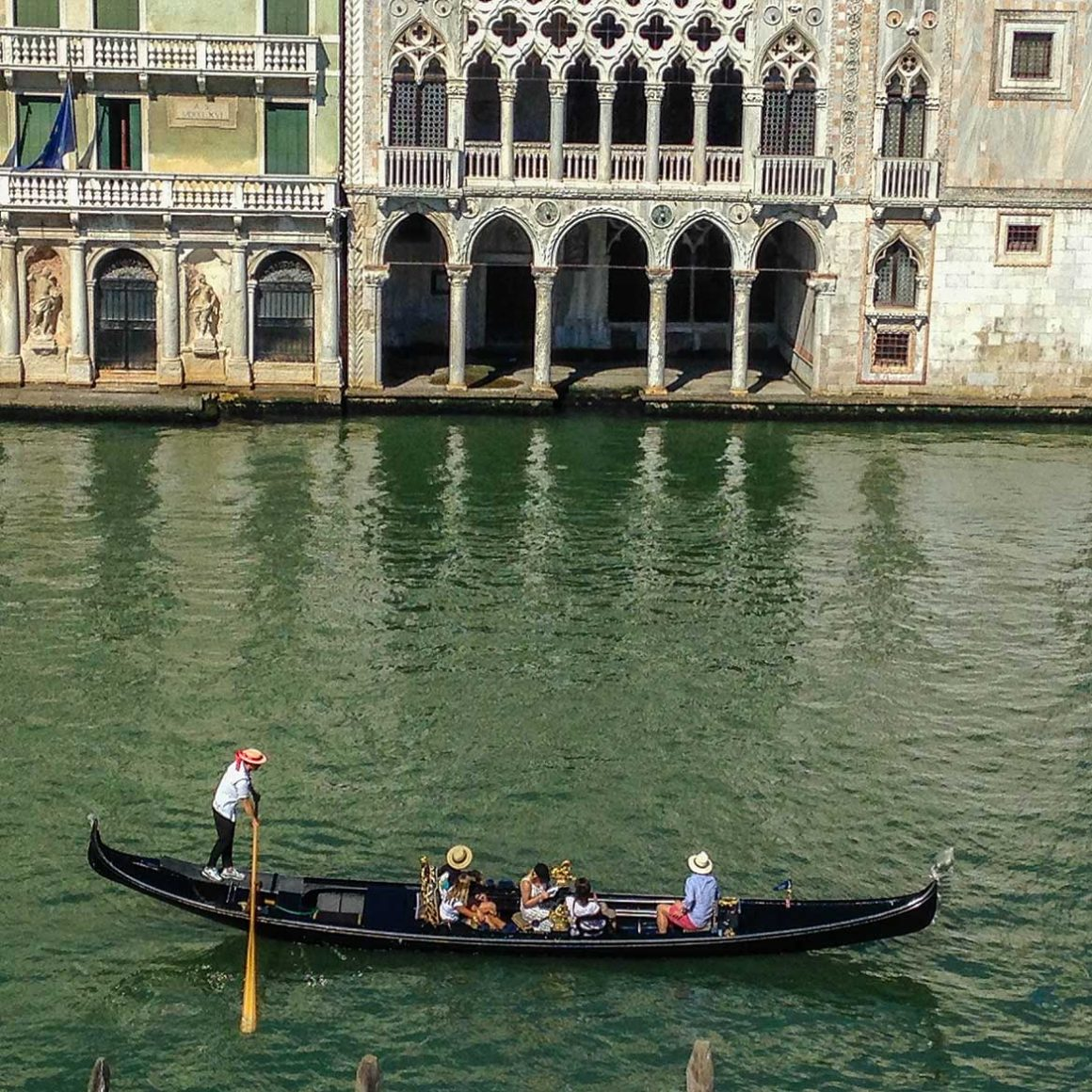 Gondola touring the main canal in venice