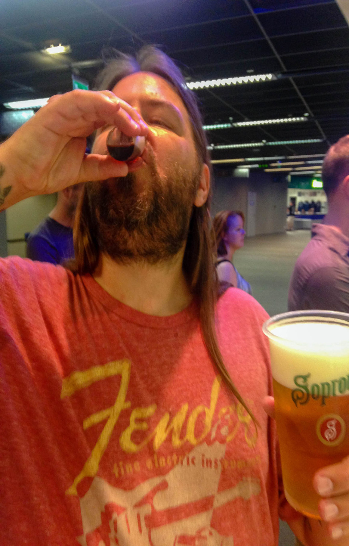 Lance doing shots at Foo Fighters concert in Budapest