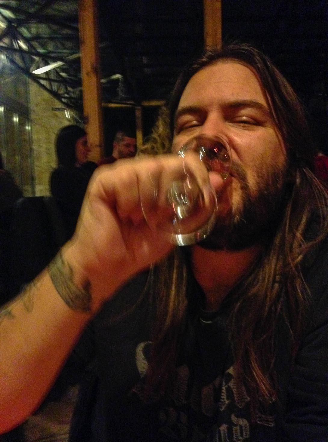 Lance drinking Rakija
