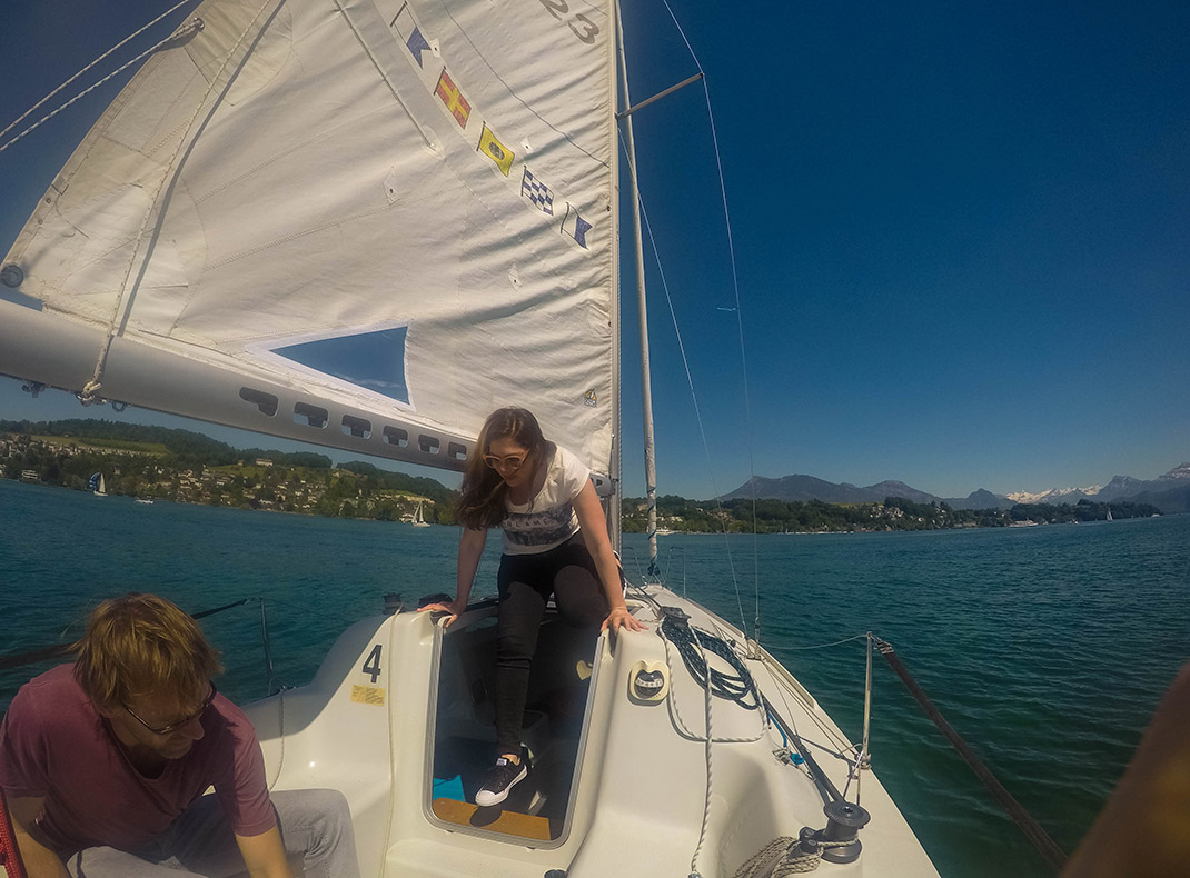 Mimi Learning to Sail_Lake Lucerne