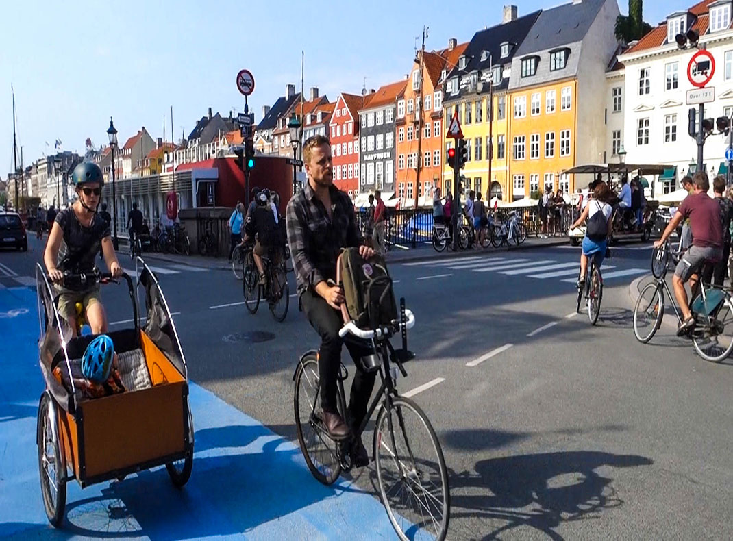 Biking in Copenhagen, Denmark